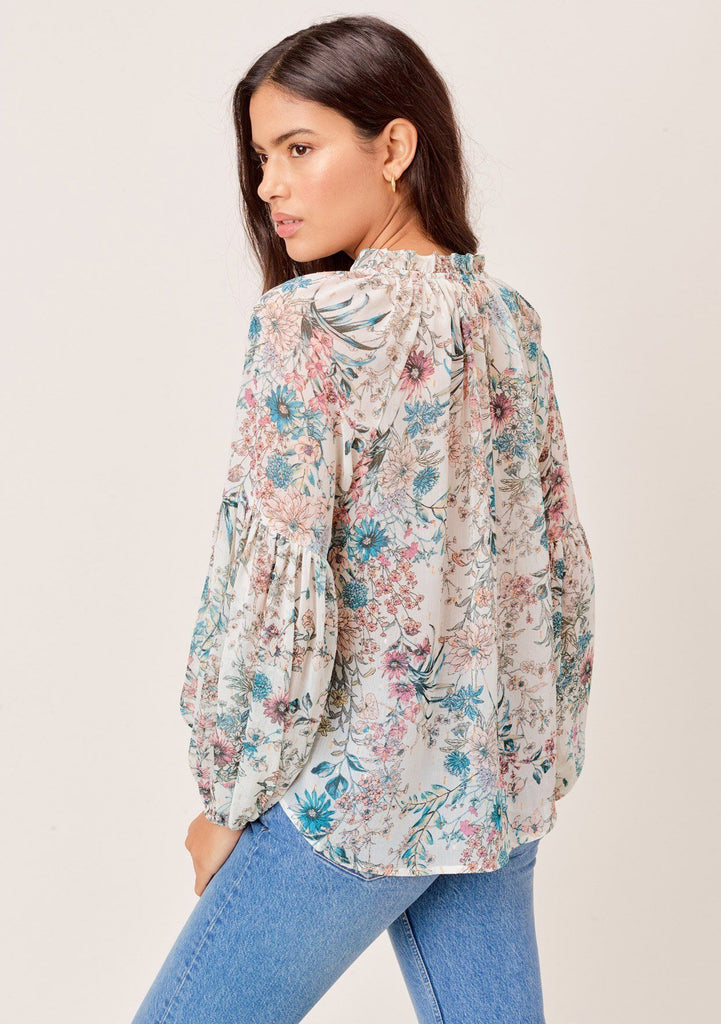 [Color: Ivory/Orchid/Peach] Lovestitch Sheer Floral Peasant Blouse with Ruffled Details and Tie Neck