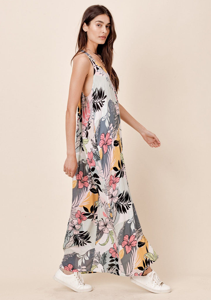 [Color: Pink/Mustard] Pleated, tropical floral printed, racerback maxi dress with side pockets.