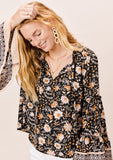 [Color: Black] Lovestitch Floral printed bell sleeve tie front top