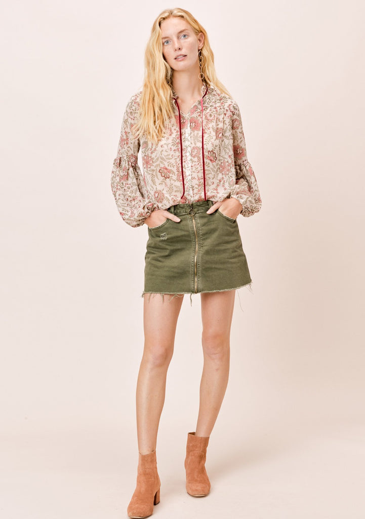 [Color: Natural/Sage] Lovestitch Natural/Sage Floral Sheer Top with Velvet Ties