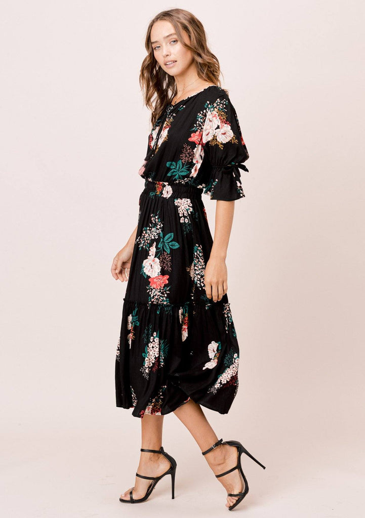[Color: Black] Lovestitch black Floral printed midi dress with tie neck detail and bow sleeve detail.