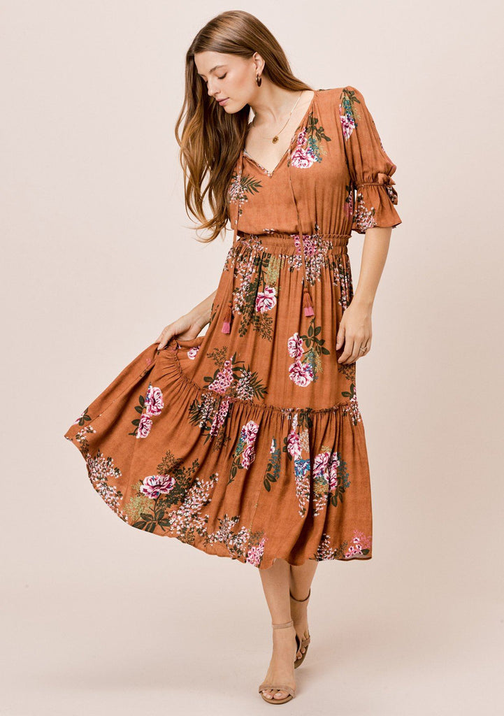 [Color: Saddle] Lovestitch saddle Floral printed midi dress with tie neck detail and bow sleeve detail.
