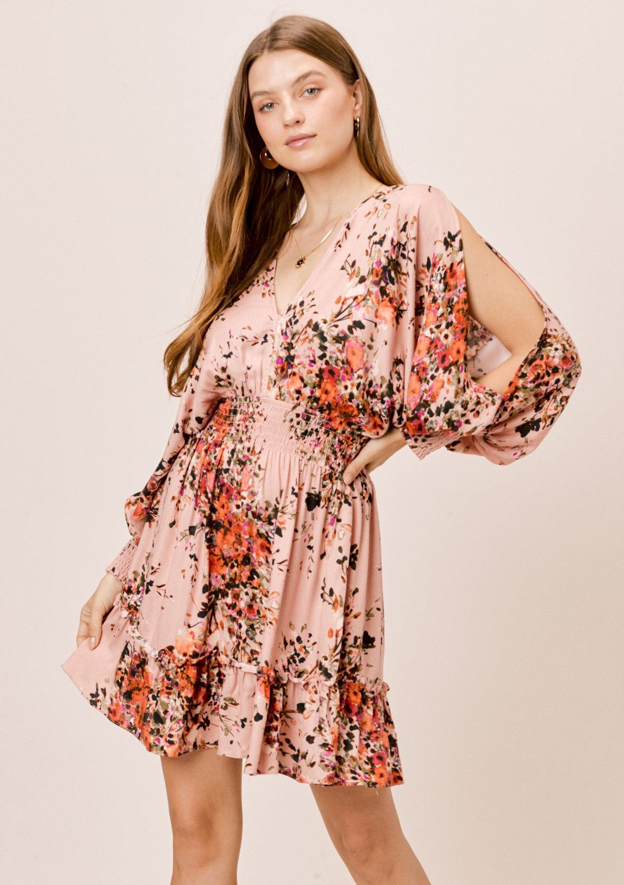 [Color: Clay/Rust/Olive] Lovestitch Bouquet Floral Printed Split Sleeve Mini Dress with Smocked Waist