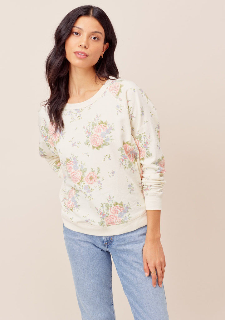 [Color: Natural Floral] Lovestitch natural floral Vintage floral printed, long sleeve, crewneck sweatshirt.