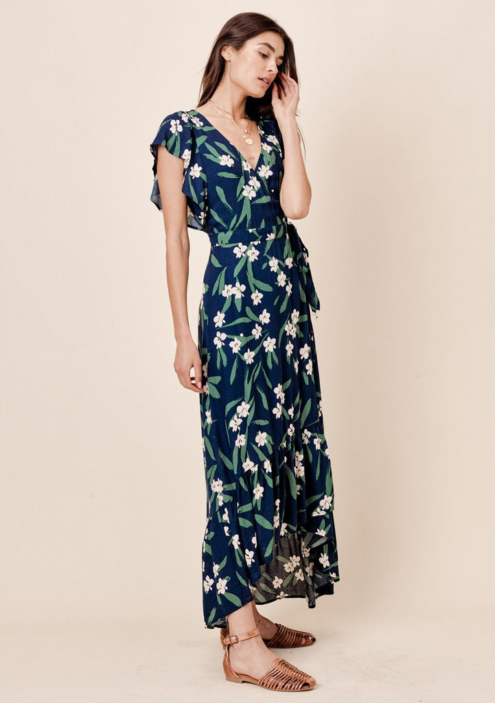 [Color: Navy] Lovestitch navy blue, floral printed wrap maxi dress with flutter sleeve and ruffled hem