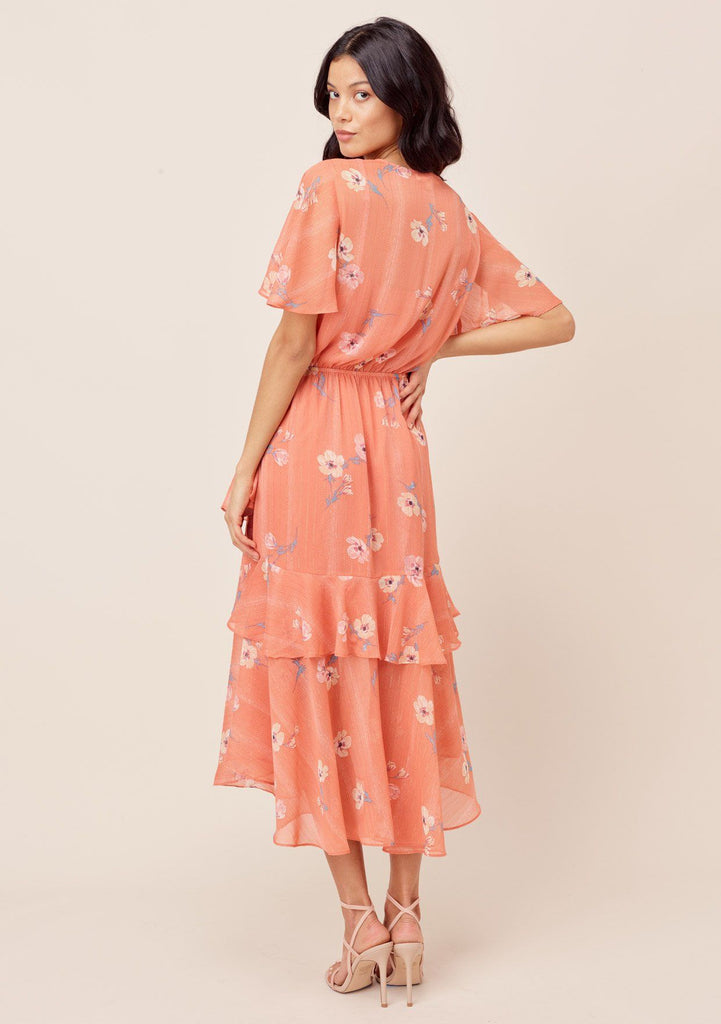 [Color: Apricot/Peach] Lovestitch Apricot/Peach Floral printed, short sleeve, surplice maxi dress with ruffled details and front slit.