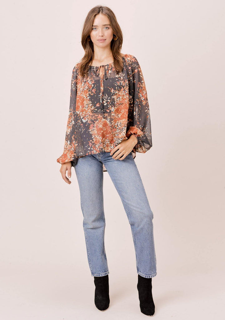 [Color: Grey/Rust/Mint] Lovestitch Grey Floral printed, long sleeve peasant top with shirred neckline and tie detail.