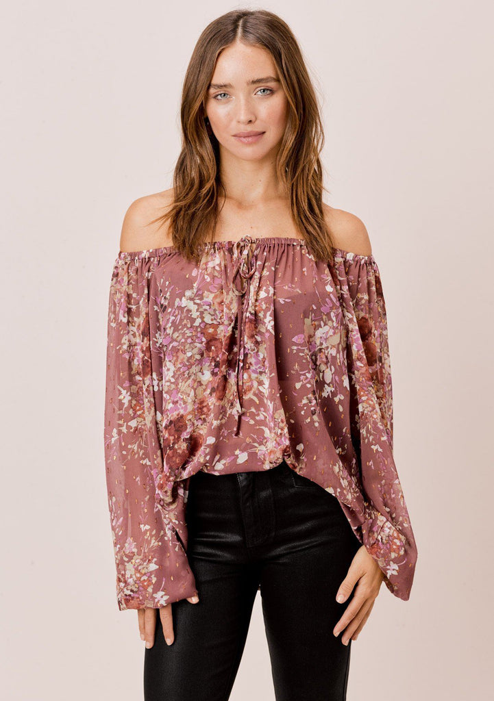 [Color: DustyMauve/Rust/Lavender] Lovestitch Mauve Floral printed, long sleeve peasant top with shirred neckline and tie detail.