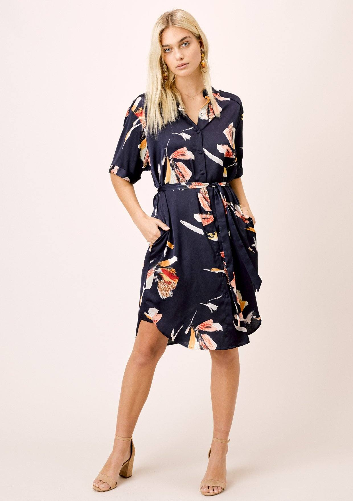 [Color: Midnight] Lovestitch Blue tiger Floral Printed, Belted Shirt Dress