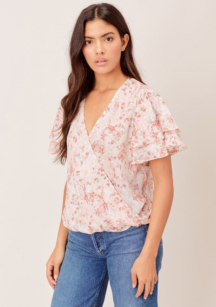 [Color: Ivory/Latte] Lovestitch floral printed, layered short sleeve, surplice top