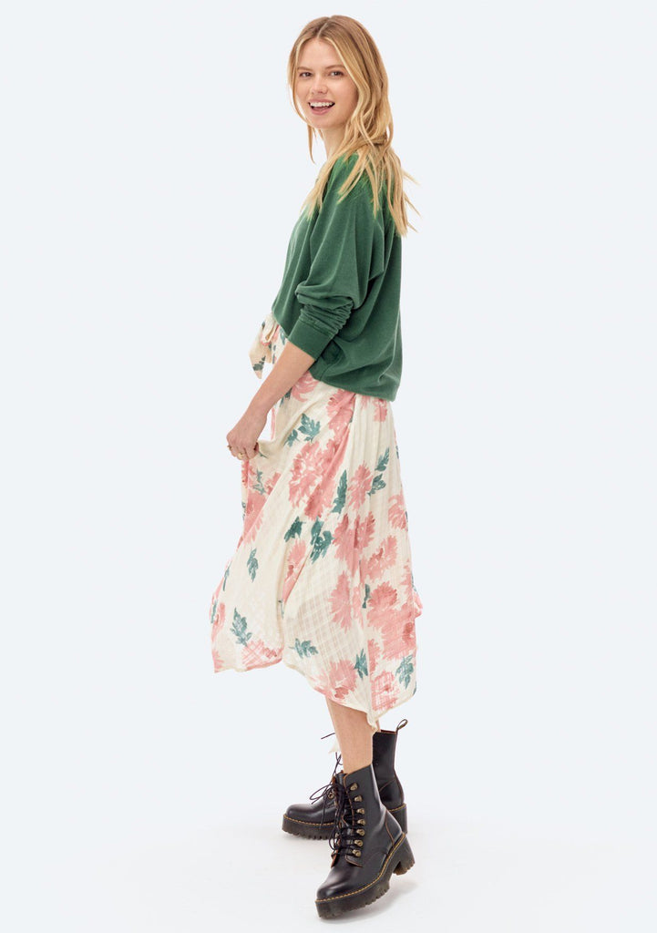 [Color: Rust/Sage] Lovestitch floral printed, flowy skirt with asymmetrical hem.