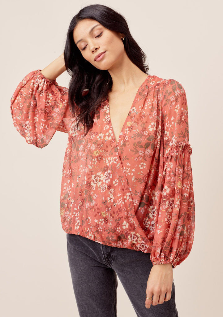 [Color: Canyon/Sand] Lovestitch canyon/sand Floral printed surplice top with open tie back detail and long lantern sleeve.