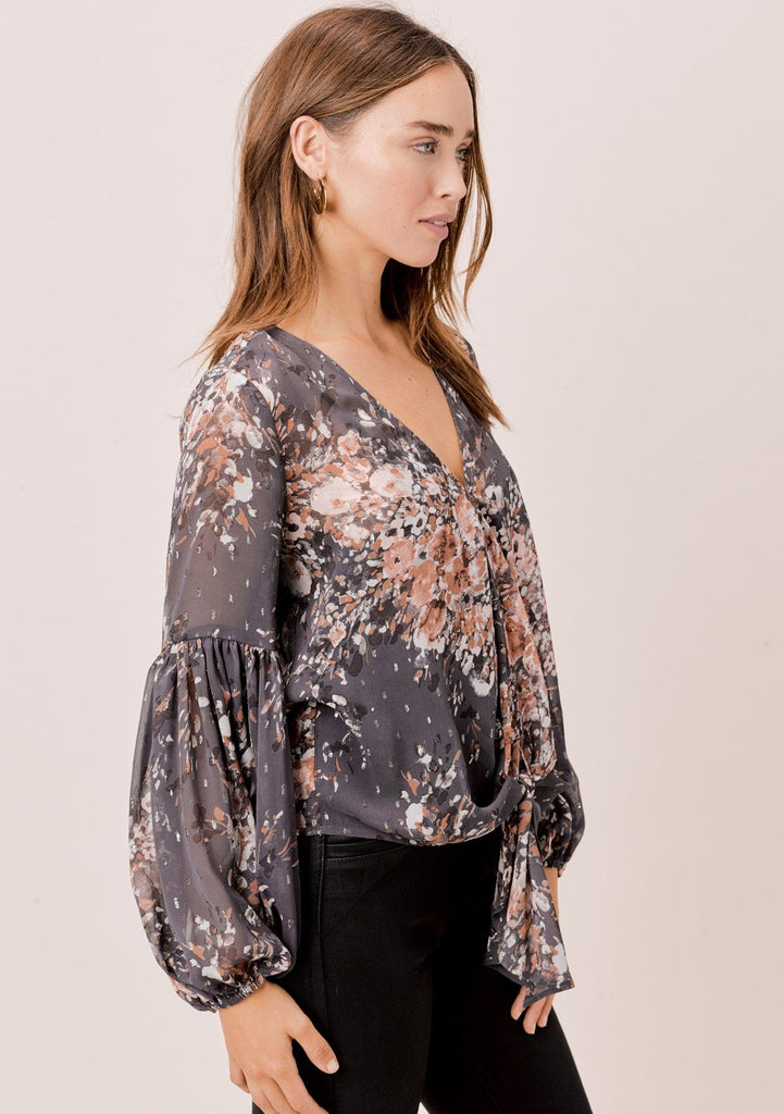 [Color: Grey/Blue/Taupe] Lovestitch grey/blue/taupe sheer, floral tie front top with volume sleeves.