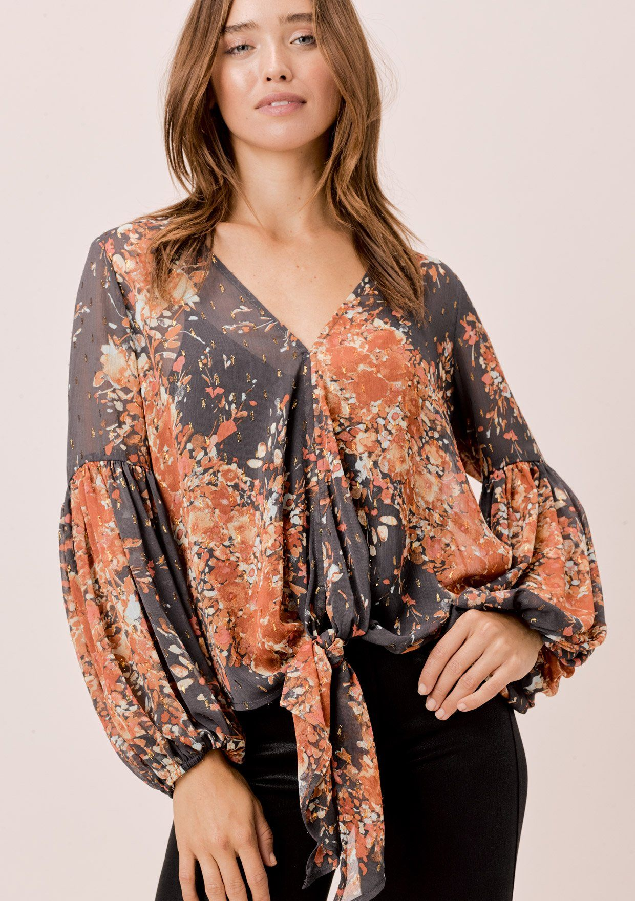 [Color: Grey/Rust/Mint] Lovestitch grey/rust/mint sheer, floral tie front top with volume sleeves.