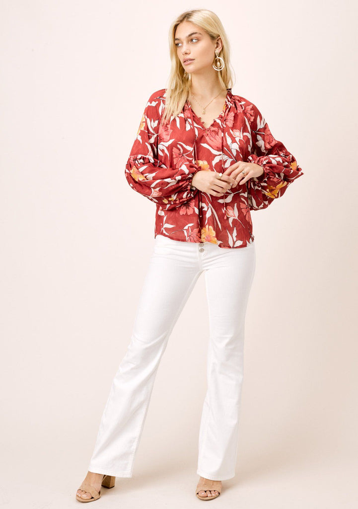 [Color: Wine/Gold] Lovestitch satin chiffon, large floral printed blouse with ruffled neck