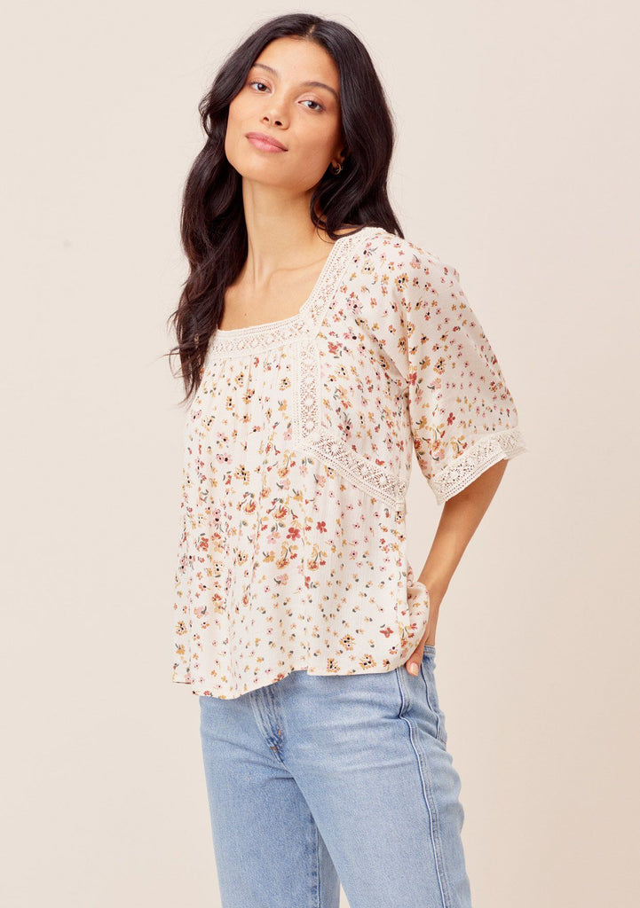 [Color: Brick/Natural] Lovestitch brick/natural Delicate floral printed, short sleeve top with crochet lace details.