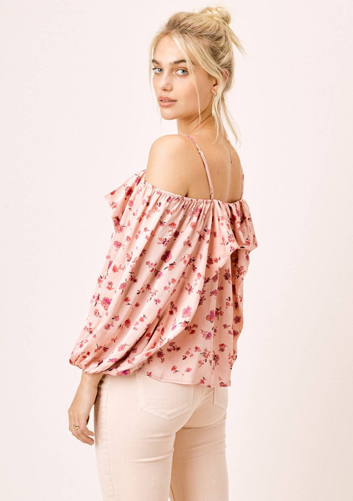 [Color: DesertRose/Mauve] Lovestitch desert rose/mauve, silken cold shoulder top with volume sleeve.