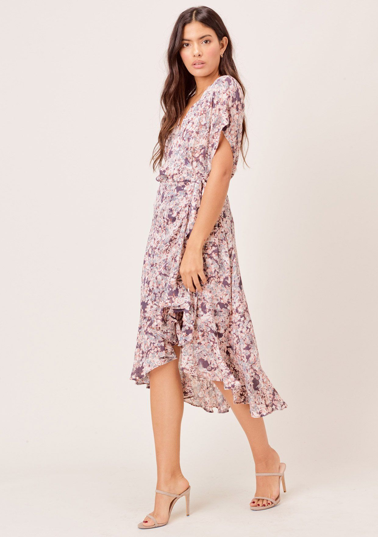 [Color: Charcoal/Fog] Lovestitch charcoal/fog Floral printed, rolled short sleeve wrap dress with ruffled skirt.