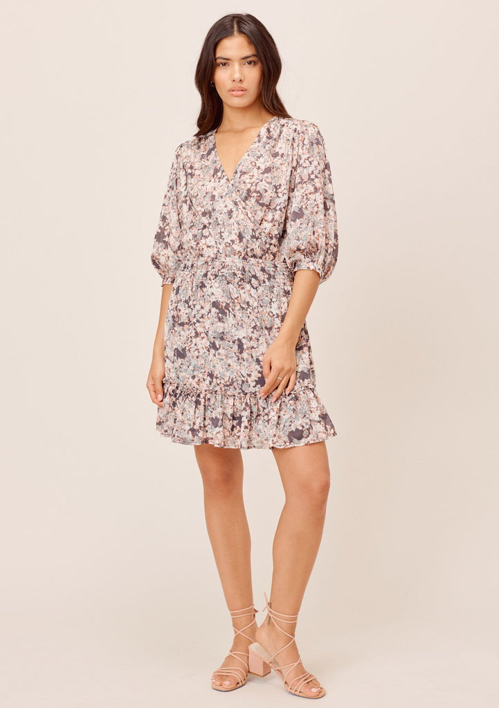 [Color: Charcoal/Fog] Lovestitch charcoal/fog floral mini wrap dress
