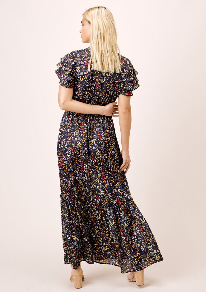 [Color: Midnight/Marigold] Lovestitch midnight navy, floral printed, tiered maxi dress with buttoned front.