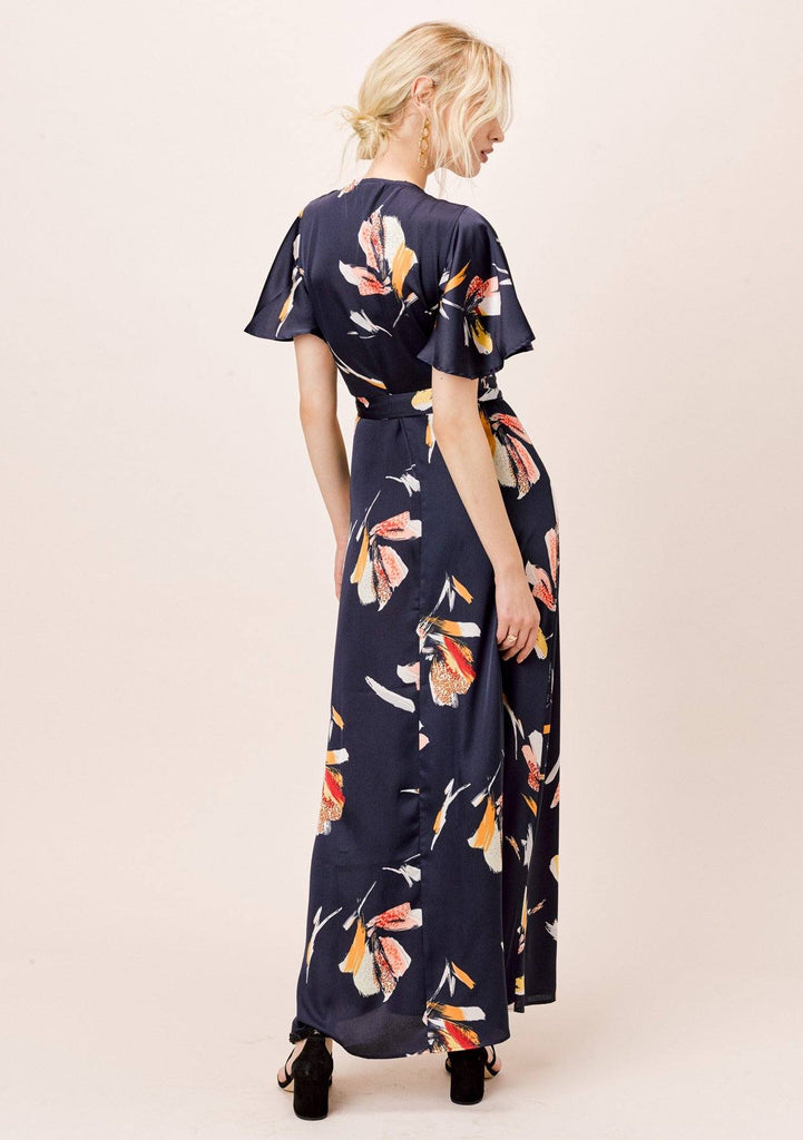 [Color: Midnight] Lovestitch silken midnight blue, floral printed, wrap maxi skirt.