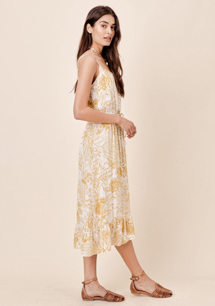 [Color: Mustard] Lovestitch mustard hand-sketched floral printed midi dress with ruffled hem and self tie belt.