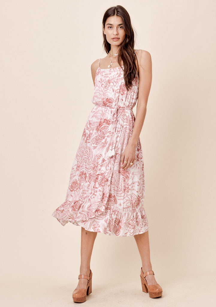 [Color: Rose/Taupe] Lovestitch rose/taupe hand-sketched floral printed midi dress with ruffled hem and self tie belt.