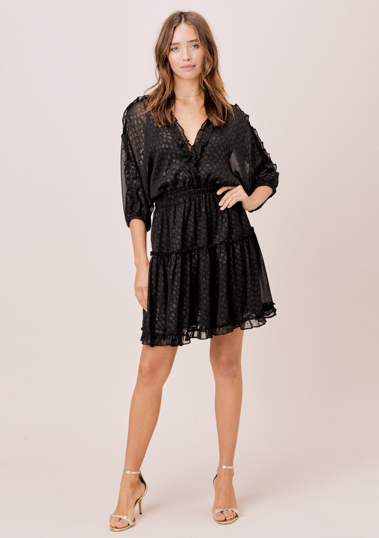 [Color: Black/Gold] Lovestitch black/gold Foil chiffon, dolman sleeve mini dress with smocked elastic waist and all over ruffled details.
