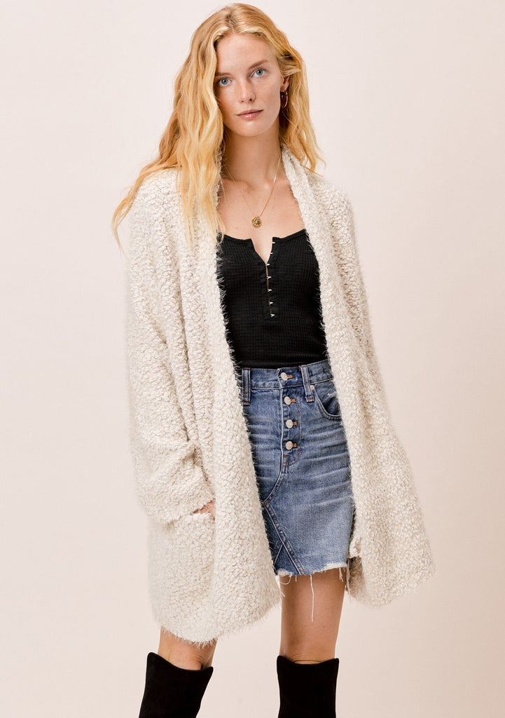 [Color: Vanilla] Lovestitch Vanilla fuzzy popcorn shawl collar cardigan with pockets