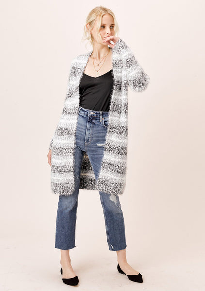 Bridget Striped Fuzzy Cardigan