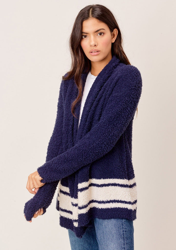 [Color: Navy/Sand] Lovestitch navy/sand Long sleeve, dreamy soft, draped front cardigan with striped detail.
