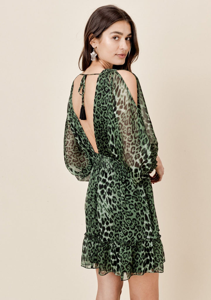 [Color: Army/Black] Lovestitch green leopard printed chiffon, split sleeve, mini dress with smocked waist.