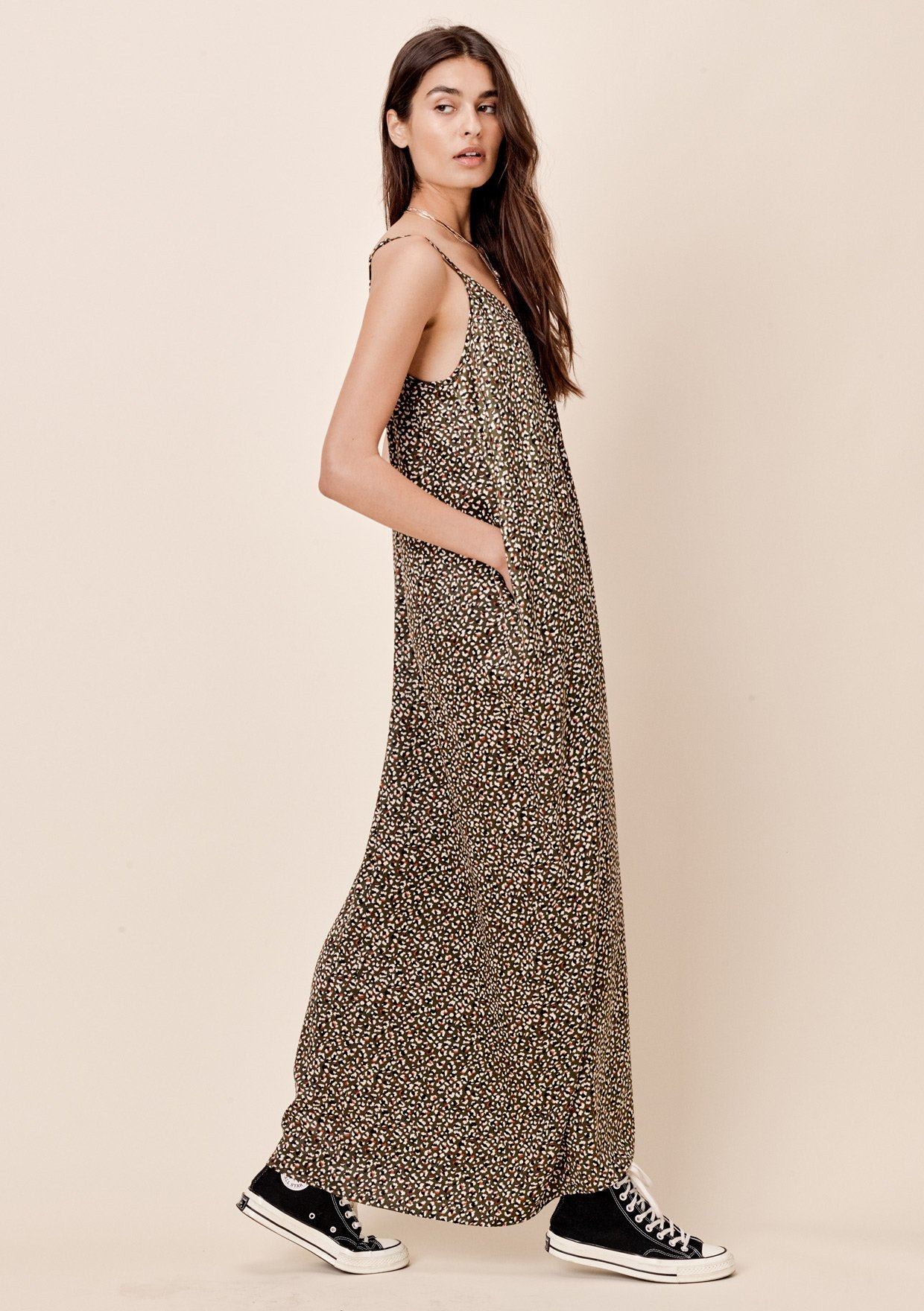 dc6592376c ... Olive Multi] Lovestitch billowy, leopard printed, cocoon maxi dress  with ...