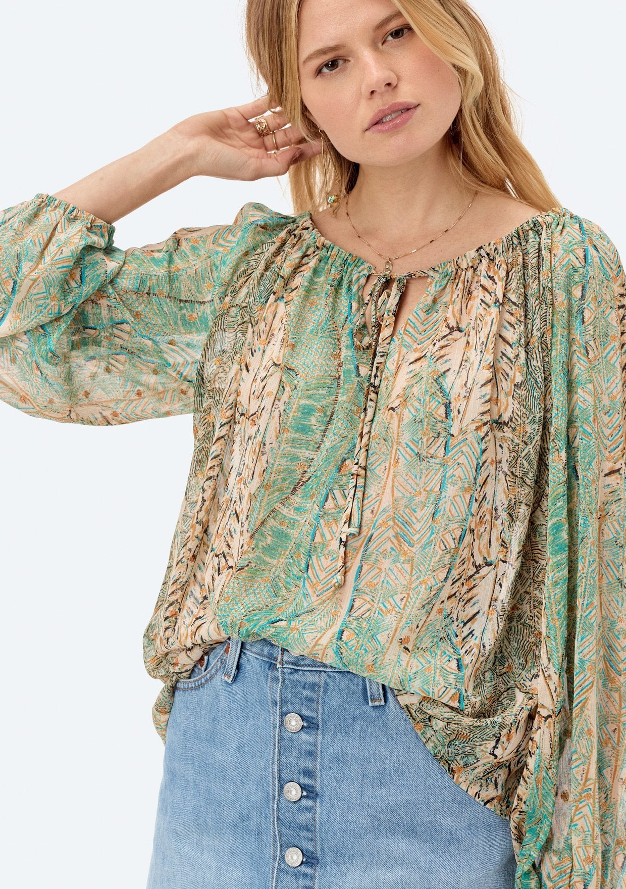 [Color: Turquoise] Lovestitch printed, long sleeve peasant top with shirred neckline and tie detail.
