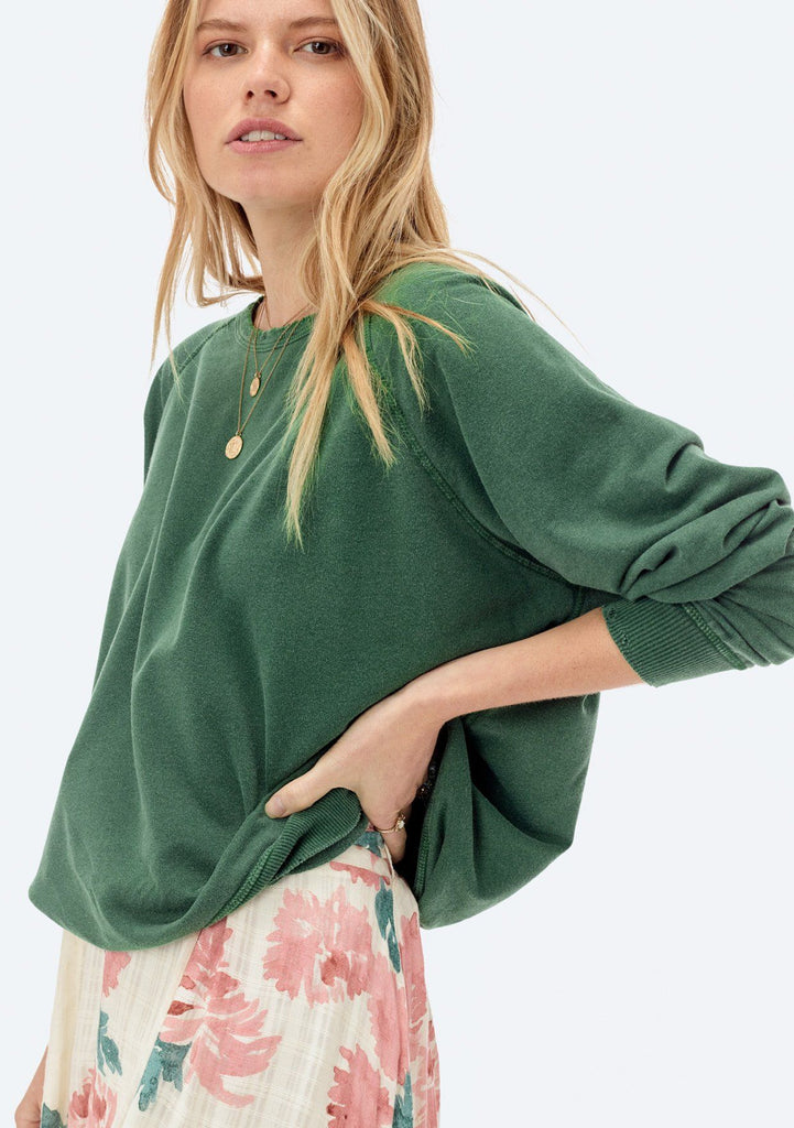 [Color: Forest Green] Lovestitch lightweight frenchterry crewneck sweater with distressed detail.