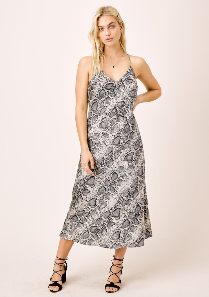 [Color: Silver/Black] Lovestitch snakeskin printed satin bias cut midi dress