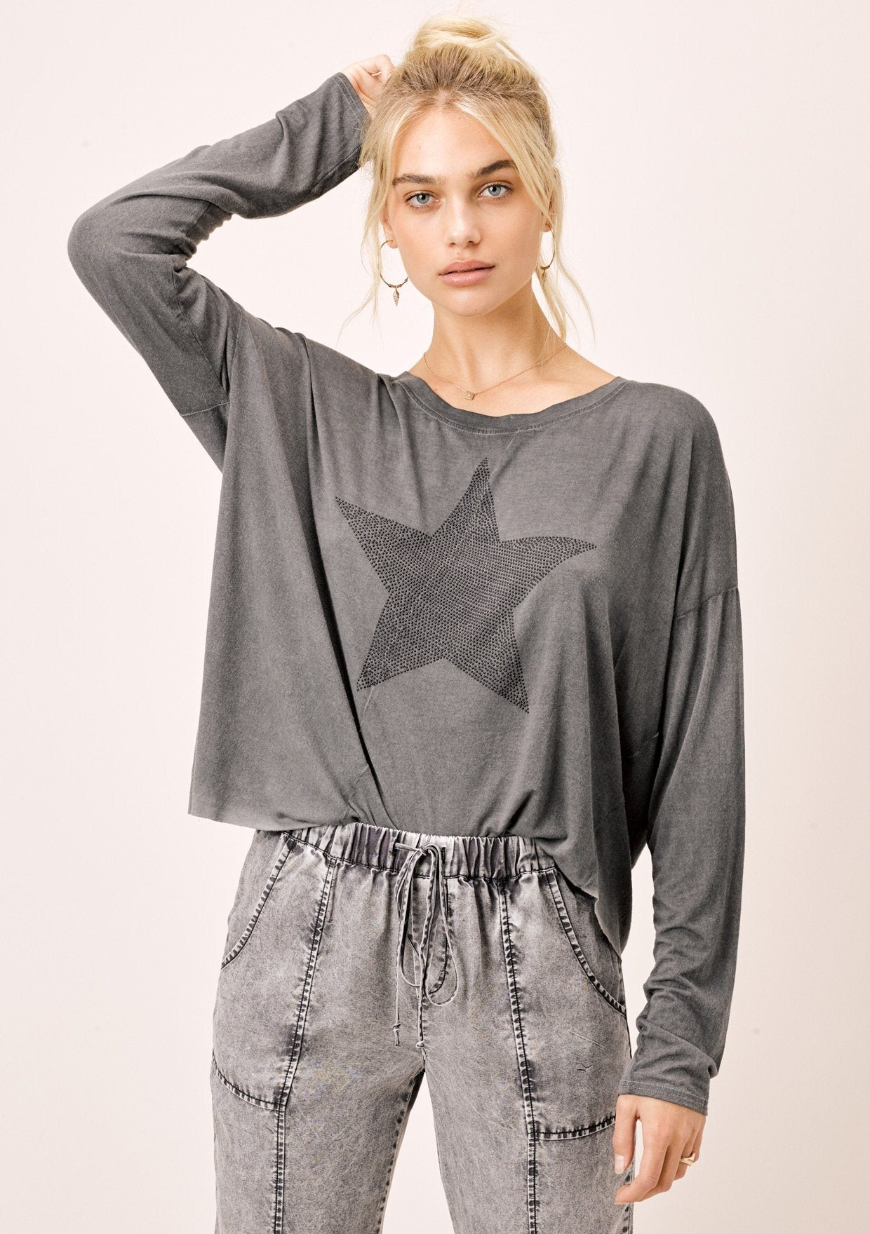 [Color: Charcoal] Lovestitch vintage wash, charcoal, long sleeve top with big star detail.