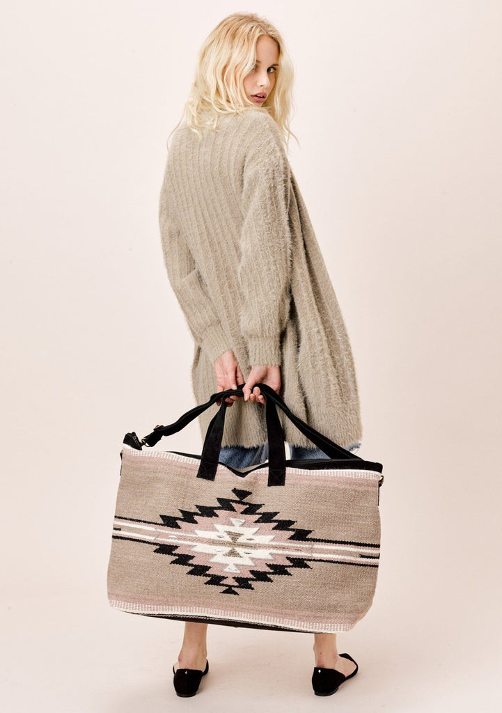 [Color: Taupe] Lovestitch oversized Southwest Inspired weekender  with beaded details