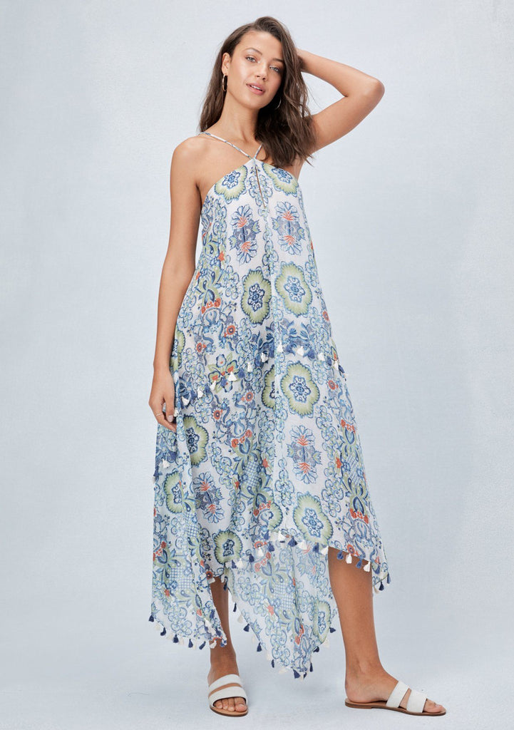 [Color: Blue/Leaf] Lovestitch Moroccan inspired, sheer scarf halter dress