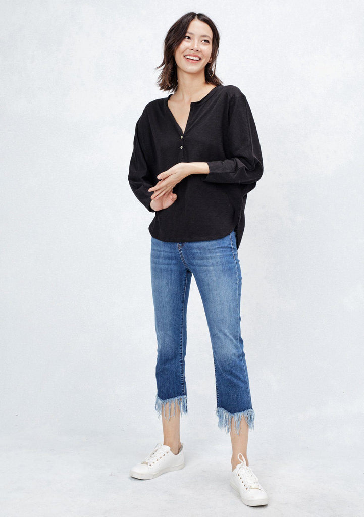 [Color: Black] Lovestitch super soft, dolman sleeve, knit henley with two-button front detail