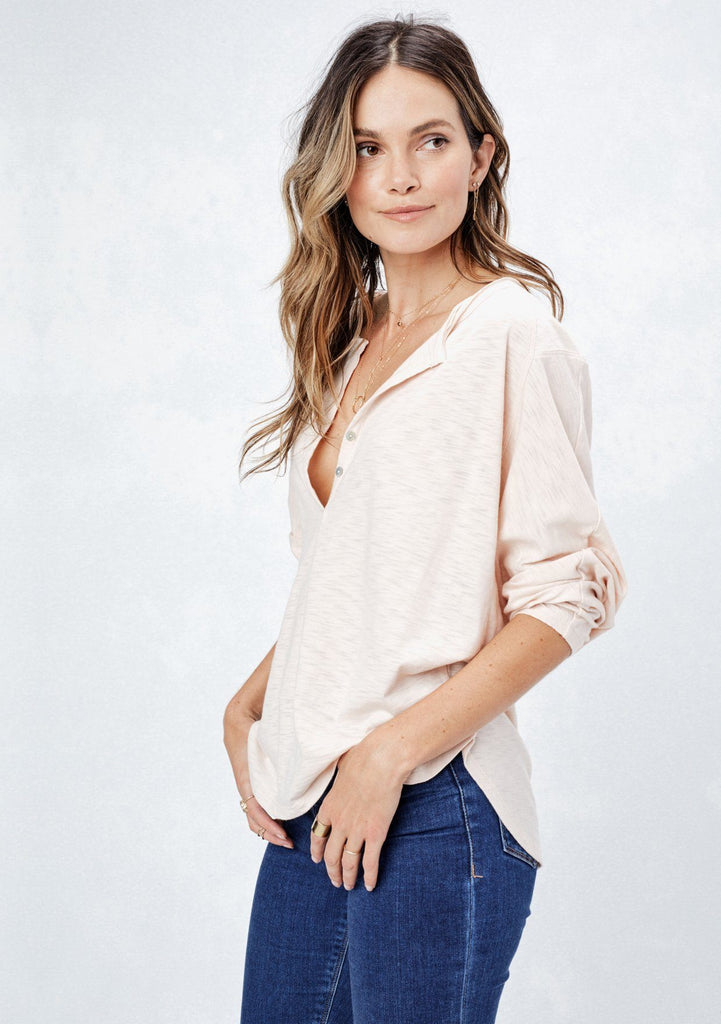 [Color: Pale Pink] Lovestitch super soft, dolman sleeve, knit henley with two-button front detail