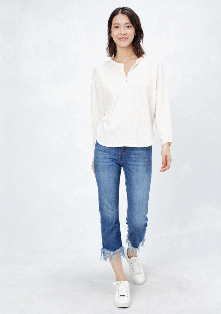 [Color: Off White] Lovestitch super soft, dolman sleeve, knit henley with two-button front detail