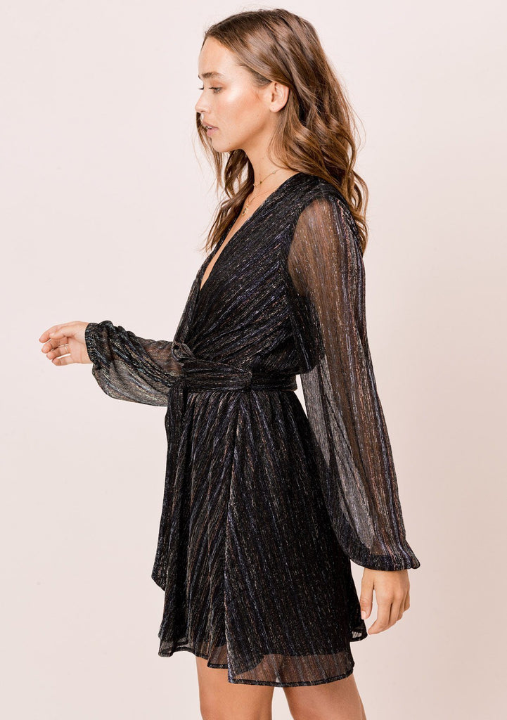 [Color: Black/Rust/Gold] Lovestitch black metallic mini wrap dress with long sheer sleeves and side tie closure.