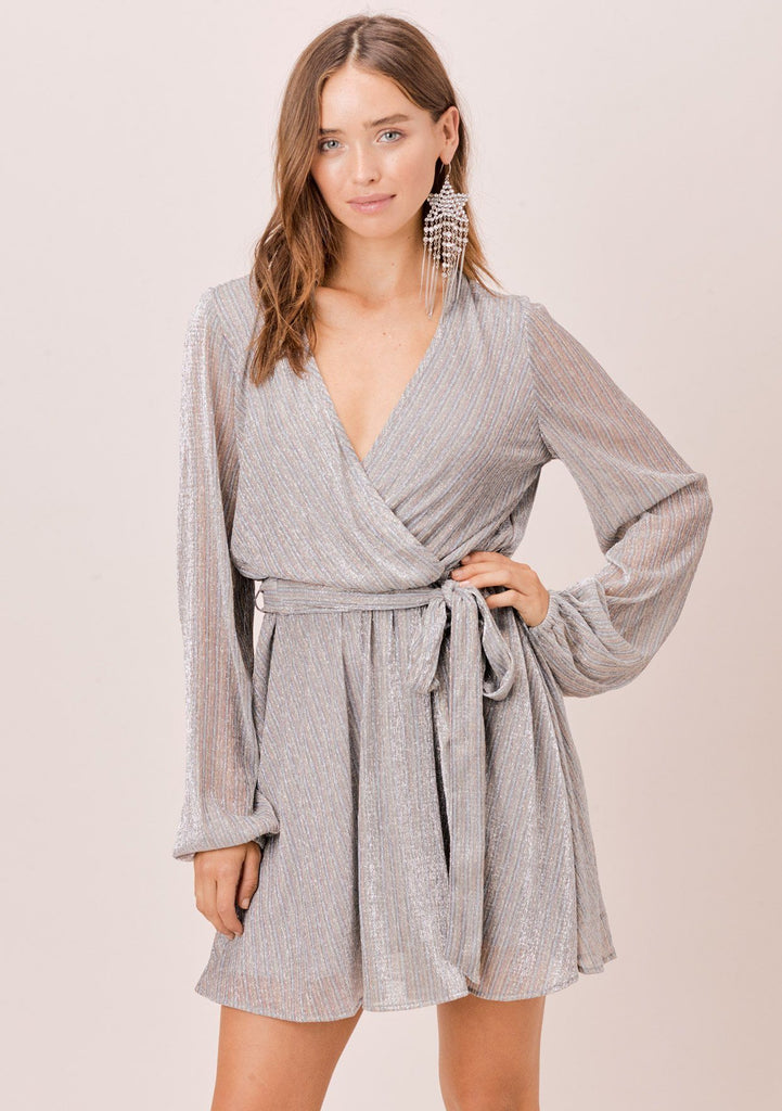 [Color: Silver/Blue/San] Lovestitch silver metallic mini wrap dress with long sheer sleeves and side tie closure.