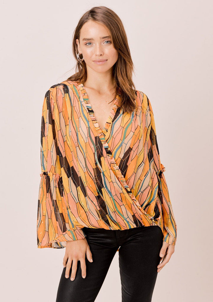 [Color: Honey Gold] Lovestitch Retro printed, surplice top with bell sleeves and ruffled detail.