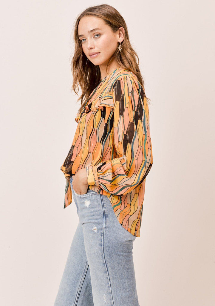 [Color: Honey Gold] Beautiful and unique abstract printed button up top with ruffle and tie neck details, inspired by vintage seventies trends with mustard yellow and wild wavy print.