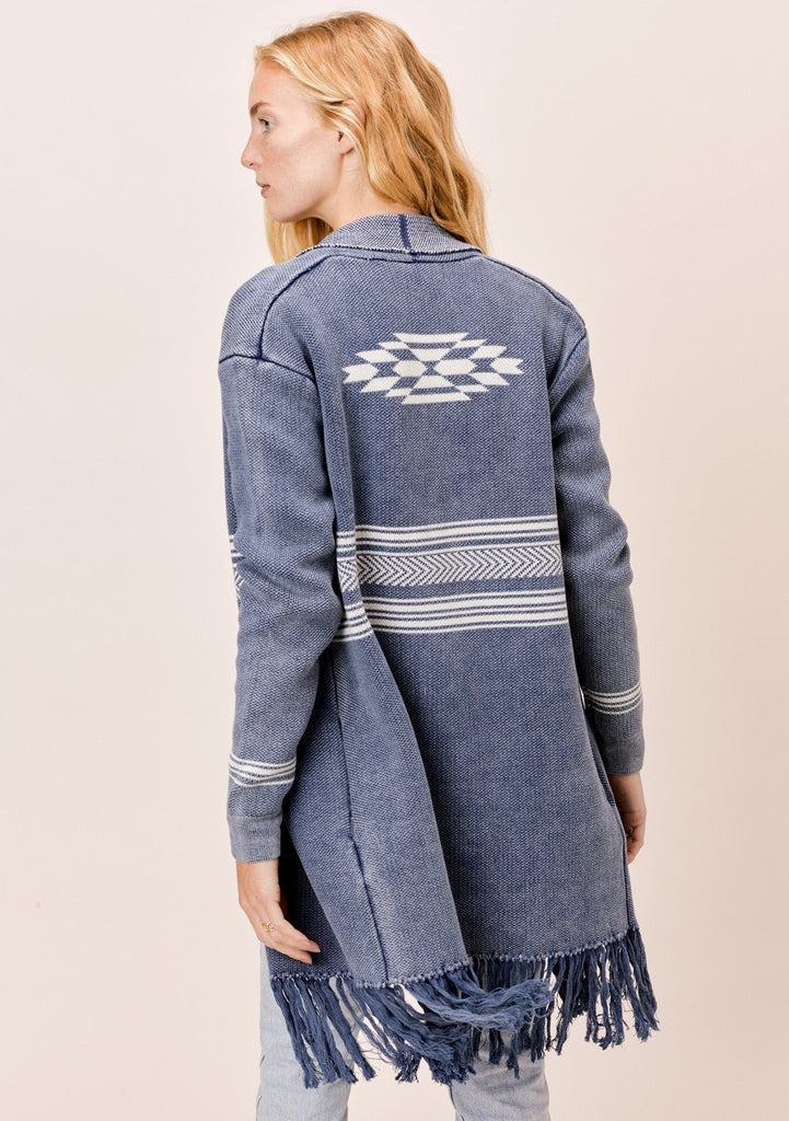 [Color: Indigo] Lovestitch Navajo Inspired Open Cardigan with Fringe
