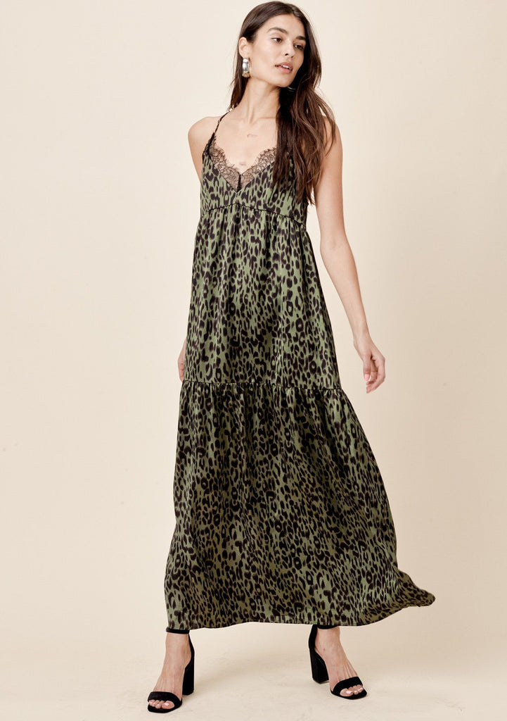 [Color: Army/Black] Lovestitch, army/black, sexy, vintage inspired, leopard print, lace back, tiered slip maxi dress
