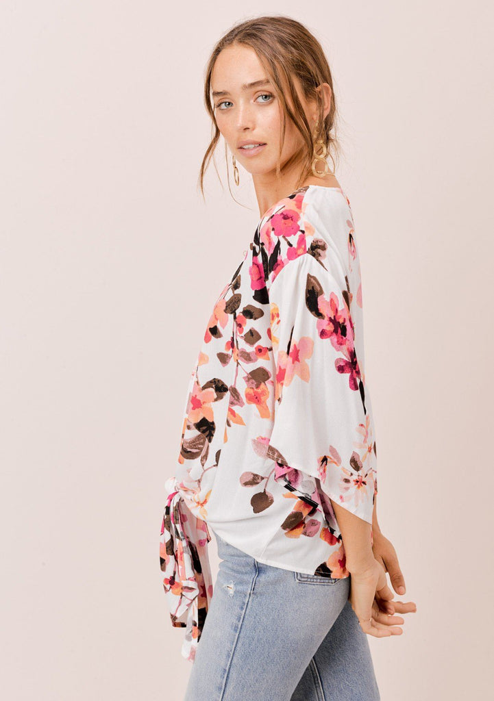 [Color: Ivory/DesertRose/Coco] Lovestitch ivory floral printed tie front top with kimono sleeves
