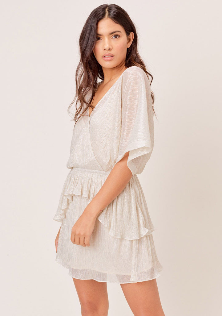 [Color: Ivory/Gold] Lovestitch ivory/gold, pleated metallic dolman sleeve surplice tiered mini dress